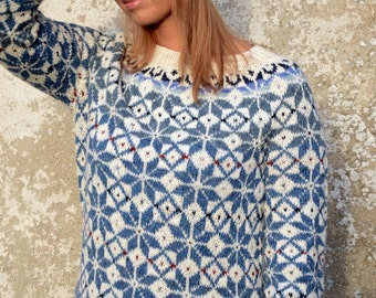 Fair Isle Sweater Blue White Sweater Comfy sweater Nordic sweater Icelandic sweater Women's sweater