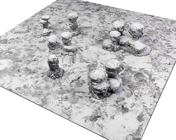 "Wargame Terrain - Spires & Plateaus - ""Ice and Snow"" Starter Bundle terrain set - 6 pieces - CUSTOMIZABLE"