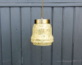 Vintage french, cream flecked, hand blown, splatter glass, mottled glass ceiling light or pendant light from the 1930s