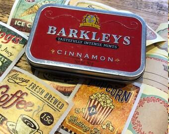 Barkleys Red Cinnamon Tin and Ephemera | Vintage Ephmera | Faux Vintage Tin and Ephemera |