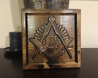 Wood Carved Masonic Logo Plaque - Organization of Freemasonry Gift, Mason Gift