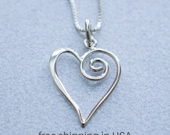Sterling Silver Swirl Heart Necklace, FREE SHIPPING, Swirly Heart Pendant, Spiral Open Heart Charm, Love Jewelry, Valentine Day Heart Gift