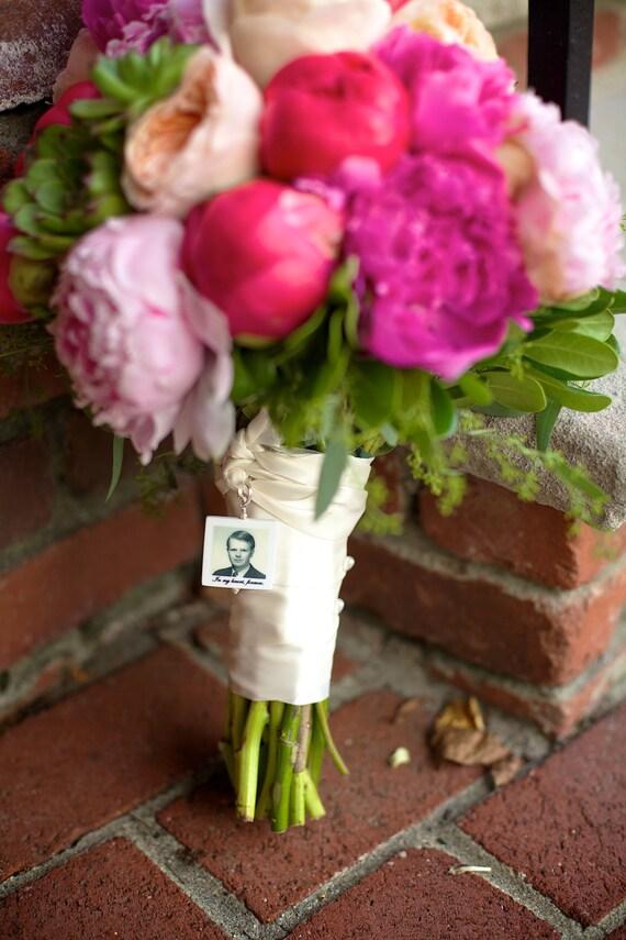 Bridal Bouquet Charm - Lg. 2 in 1 Wedding. Memorial Photo Pendant - BC1