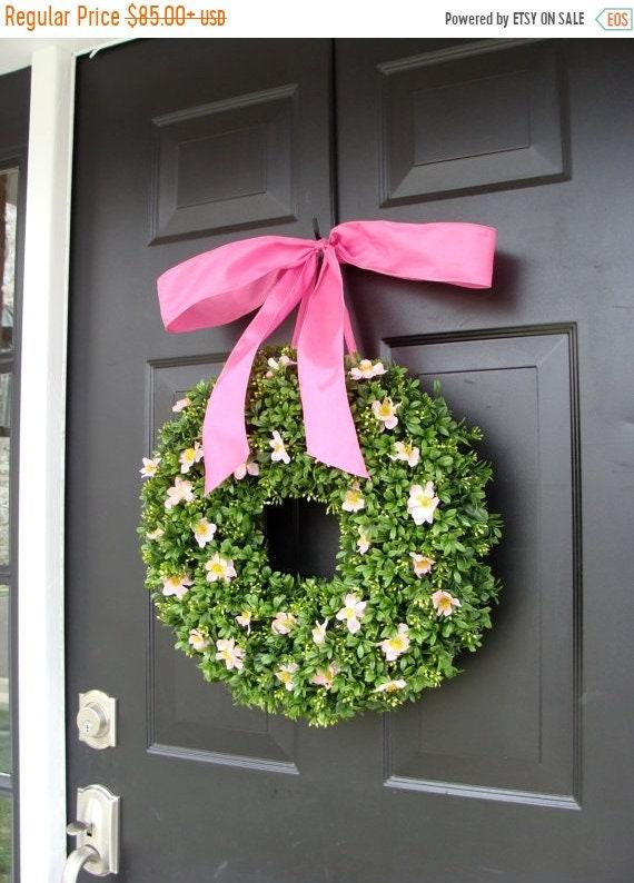 SUMMER WREATH SALE Pink Boxwood Spring Wreath- Breast Cancer Awareness- Pink Summer Wreath- Year Round Wreath- 16 Inch