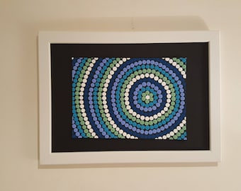 Painting acrylic Aboriginal style - blue version