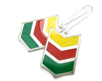 CHEVRON STATEMENT Earrings, 925 Silver Kidney Wires, Triple Chevron, Jamaican - Rasta & Reggae - Rastafarian Jewelry, Handmade Gift Under 25