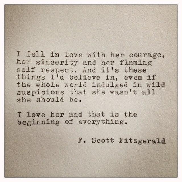 Love Quotes F Scott Fitzgerald Glamorous Fscott Fitzgerald Typewriter Quote On Love  Handtyped Quote