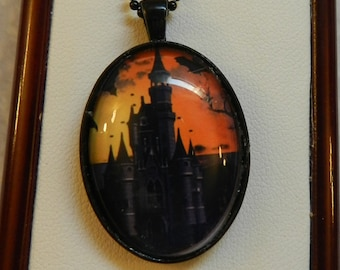 Halloween Gothic Bats Castle Oval Necklace V4284  Ready to ship