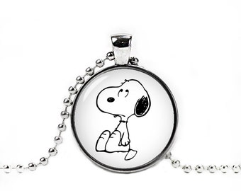 Snoopy Necklace Snoopy Round Pendant Snoopy Jewelry Peanuts Snoopy Necklace