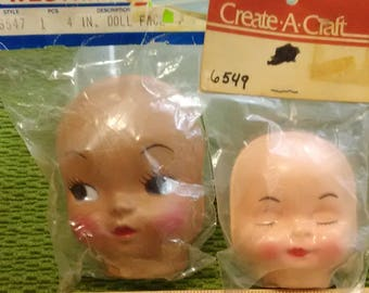 2 Vintage Doll Faces - Caucasian Pink Sleeping Baby - Ethnic Brown Side Eye Baby - Help Rescued Cats