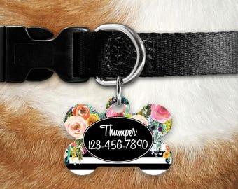 Custom Pet Tag, Floral Pet, Personalized Pet Tag, Personalized Pet ID, Custom Pet Tag, Pet Tag ID, Floral Watercolor Pet Tag, Dog Collar Tag