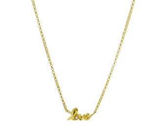 Love Word Necklace with White Sapphire