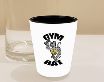 Funny Fitness Gifts - Gym Rat Shot Glass Decor // Gym Addict or Lover of Rats // Muscular Rat Pumping Iron