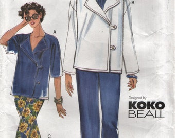 Vogue 7273 KOKO BEALL Side Button Jacket & Cropped Pants 14 16 18 Sizes ©2000 Very Easy Vogue