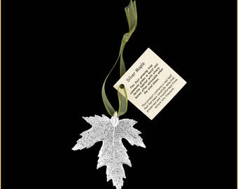 Real Silver Maple Leaf Ornaments Dipped In Silver with Ribbon and Hang Tag - Real Dipped Leaves - Christmas Ornaments