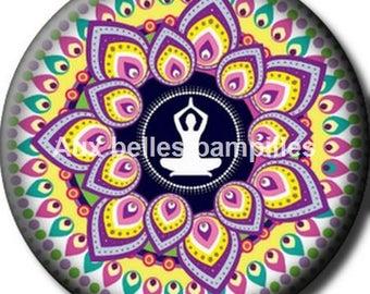 Round cabochon resin 25 mm - the lotus position stick (1219) - yoga, Buddha, zen
