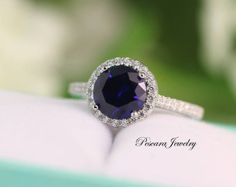 Silver Blue Sapphire Ring, Sapphire Engagement Ring, Round Halo ring, Promise Ring, sterling silver