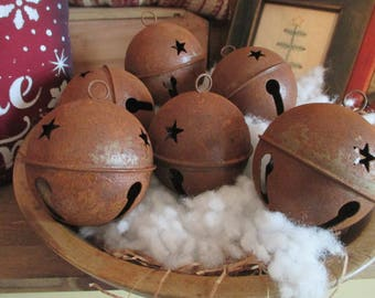 "Rusty Bell Ornament Ornie Christmas Star Wreath Decoration Holiday 3"" Set/6 Primitive"
