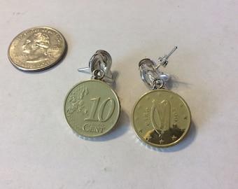 Vintage sterling silver Irish euro earrings badn