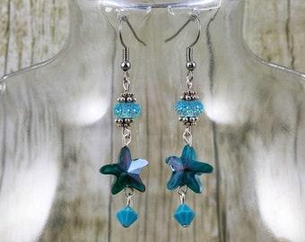 Blue Starfish Earrings | Blue Earrings | Beach Jewelry | Blue Jewelry | Gift for Her Under 25 Dollars | Jewelry Gift for Mom | Gift for Wife