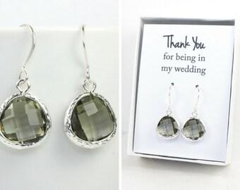 Charcoal Quartz Silver Earrings, Charcoal Silver Earrings, Gray Silver Earrings, Bridesmaid Earrings, Bridesmaid Gift, Wedding Jewelry