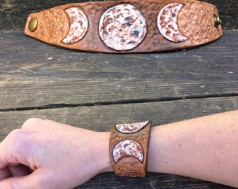Moon Goddess Tooled Leather Cuff Bracelet, Moon Phases, Pyrography, Painted Leather, Lunar, Gypsy, Moon Goddess, Witchy, Celestial