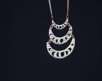 Moon Phase Necklace Drop Pendant