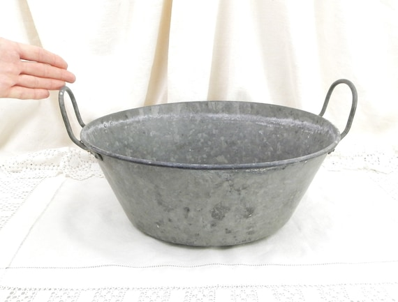 Antique French Zinc Metal Washing Basin 2 Side Handles in Gray, Old Farmhouse Wash Bowl From France, Provencal Mediterranean Country Decor