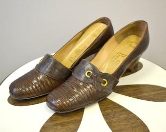 1960s Pizzaro Alligator and Lizard Brown Heels, Size 8 1/2 AAAA