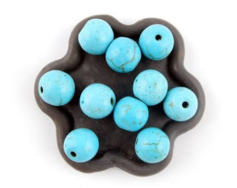x 10 round beads 10mm turquoise howlite (32 c)