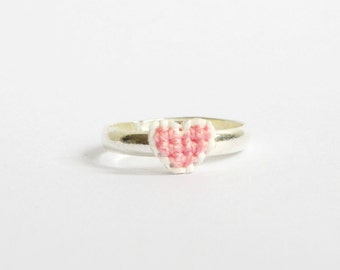 Pink heart cross stitch ring, gifts under 10, gifts for her, valentine's day jewellery, friendship ring, Pantone 2016, Rose quartz
