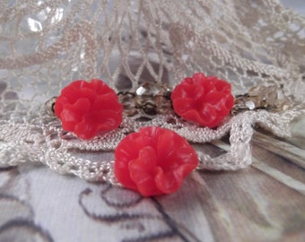 Glossy Pansy Flowers --- Set of 3 --- (Vintage Red) ---  RES 23
