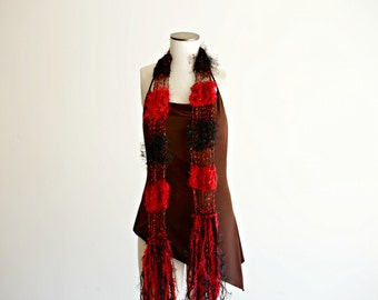 Scarf Red and Black Scarf See Through Lightweight Handknit Fashion Scarf Accessories with Fringe