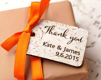 Rustic wedding favor tags, personalized favor tags, custom thank you tags, cork favor tags, wedding favor tags, vineyard wedding tags