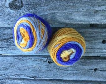 Handspun hand dyed fingerless gloves/Muffatees knitting kit. Softly spun singles
