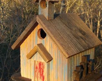 Ye Old Church Birdhouse Rustic Primitive Solid Rough Cedar Handcrafted