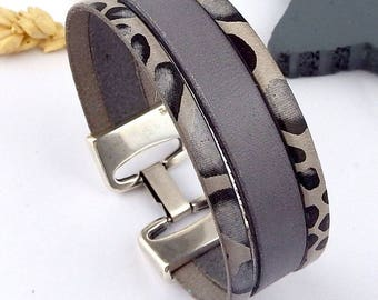 grey leather bracelet tutorial Kit animal clasp high quality silver plated