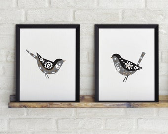 Set of 2 prints, Birds print, 8 x 10 in, Folk art, Scandinavian folk art, Wall prints, Wall printables