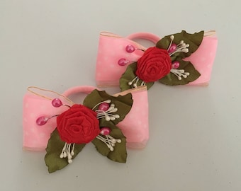 Kanzashi Rose Bow Elastic Ties, Kanzashi Hair Ties, Kanzashi Hair Accessories