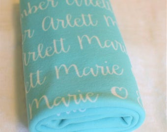 """The """"Ember"""" Personalized 29 x 39 inch Baby Name Blanket Any Color"""