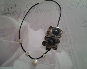 Necklace large feur, starfish and Pearl