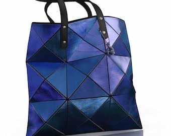 Cobalt blue leather Tote, Blue Bag, Leather Handbag, Leather Bag, Women Tote Bag, Metallic Leather Bag, Blue Tote, Blue Leather Tote