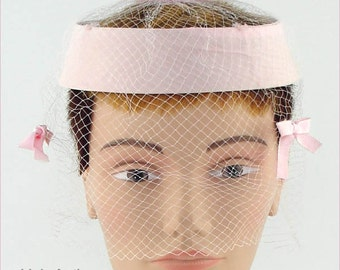 Vintage Pink Hat with Pink Netting Veil  (Inventory #HAT208)