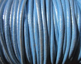 2mm metallic ligh blue leather cord, 10 yards / meter, High quality Spanish leather cord, leather working cord, string cord