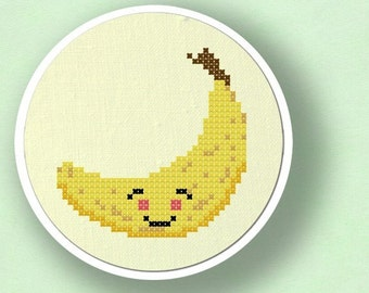 Happy Banana Cross Stitch Pattern, Fruit Cross Stitch Pattern, Modern Simple Cute Counted Cross Stitch PDF Pattern. Instant Download
