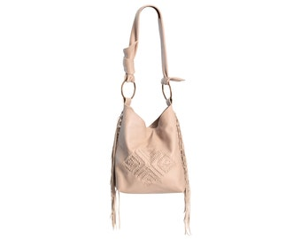 Cream leather bag, fringe crossbody bag, embroidery purse, leather cross body bag