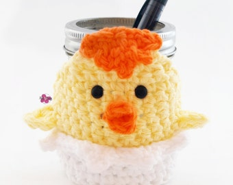 Crochet Chick Coffee Cup Cozy, Mason Jar Hugger, Drink Cozie, Wine Bottle Accent, Pen Holder, Candle Holder, Jam Jar Cozy, Whimsical, Yellow