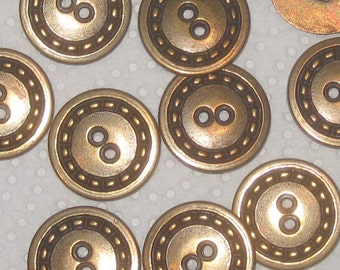 "Set 10 Vintage Antiqued BRASS Metal fancy new buttons 24mm 15/16"""