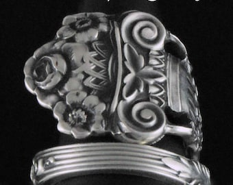 Spoon Ring, Sterling Silver, Irving 1900, upcycled Silverware, Spoon Ring size 6, Silverware Jewelry