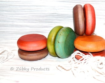 Wood Yo-Yo by Zúbky - Perfectly Simple Gift or Party Favor - Waldorf Montessori Wooden Toys - Personalized or Custom Colors